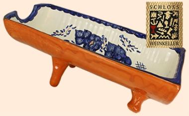 Perfekt 1 Terracotta Handbemalte Ziegel Flaschenhalter Außen Braun, Innen Blaue  Blüten